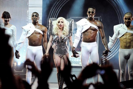 Lady Gaga Rocks with Her Shoulder Pads! http://omg.yahoo.com