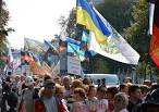 Ukrainian railway workers at a rally in Kiev demanded an increase in wages