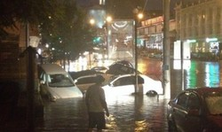 The powerful downpour flooded the Krasnoyarsk