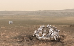 The probe Mars Lander ready for landing on Red planet