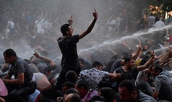 Protesters in Yerevan shot from a water cannon