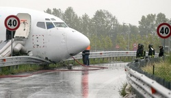In Italy a cargo aircraft landing crashed into a fence