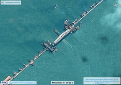Roscosmos presented a unique picture of the Crimean bridge from space